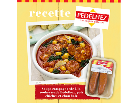 Idée recette : soupe campagnarde à la soubressade Pedelhez, aux pois chiches et chou kale