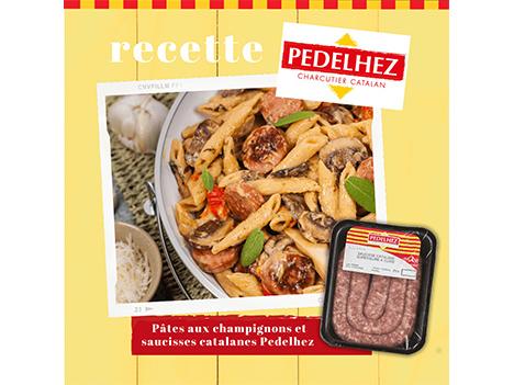 Idée recette : pâtes aux saucisses catalanes et champignons